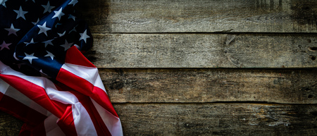 4th of July concept - wood backgrouns with american flag Stok Fotoğraf