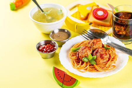 Kids menu concept - pasta, nuggets, french fries, soups, cola Standard-Bild - 131017279