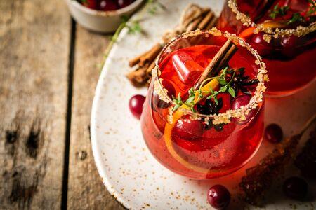 Thanksgiving cocktail - cranberry, cimmanon, grapefruit punch