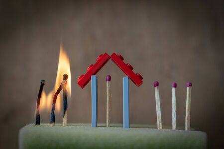 Covid concept - burned matches and stay home to stay safe