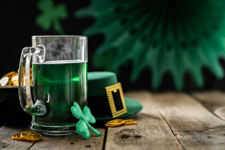 St. Patricks day concept - green beer and symbols