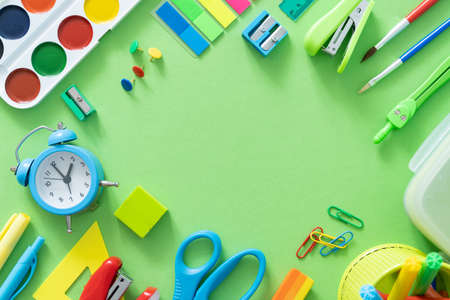 Back to school concept - colorful school supplies