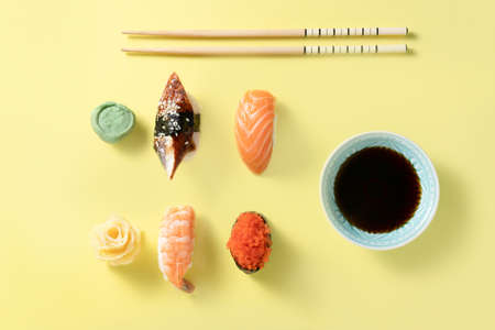 Creative food concept - selection of sushi, color blocking