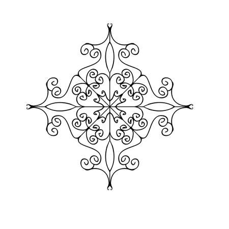 Outline flourish ornament. Web design element isolated on white background. Coloring page. Vector Illustration