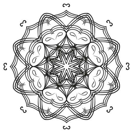 Ornamento Circular Del Mandala Del Esquema Blanco Y Negro. Patrón ...