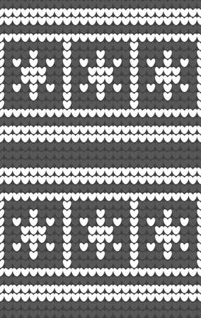 webpages: White snowflakes on gray background knitted pattern. Winter fair isle knitting texture. Seamless background for webpages, banners, posters. Vector Illustration
