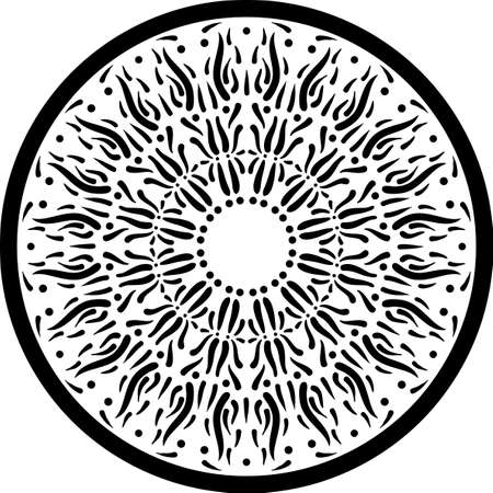 Black and white outline mandala circular ornament. Intricate pattern. Anti stress coloring book page. Web design element isolated on white background. Vector illustration