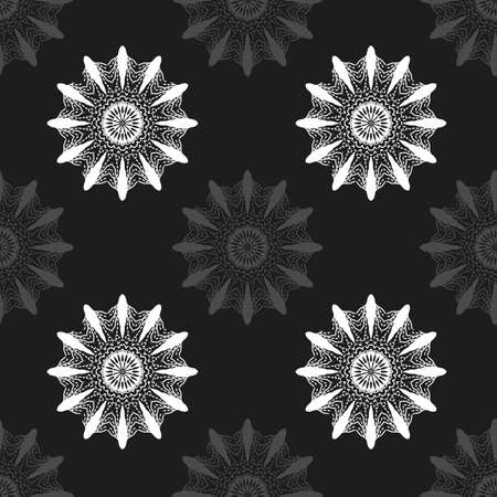 Gray abstract flowers on black background seamless pattern. Background for websites, banners, posters. Vector. Made using clipping mask