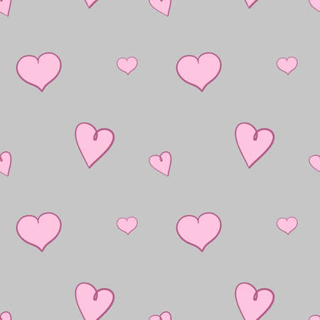 Lichtroze harten op grijs patroon als achtergrond. Herhalende webpagina-achtergrond voor Sint-Valentijnsdag.