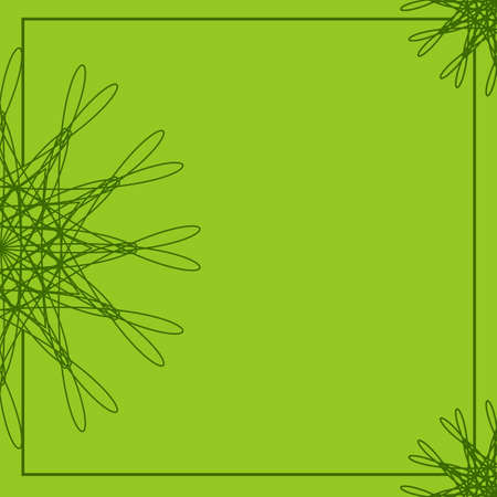 Green abstract floral frame. Geometric border template. Background for invitations, greeting cards, postcards, brochures, menus with place for text. Made using clipping mask. Vector Illustration