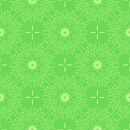 Green floral background. Seamless pattern with stylized flowers. Repeating vector background
