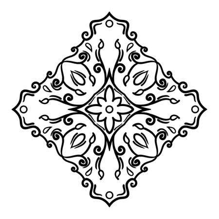 Symmetrical decorative design element. Black outline isolated on white background. Can be used as a template for a coloring book page. Vector Illustration