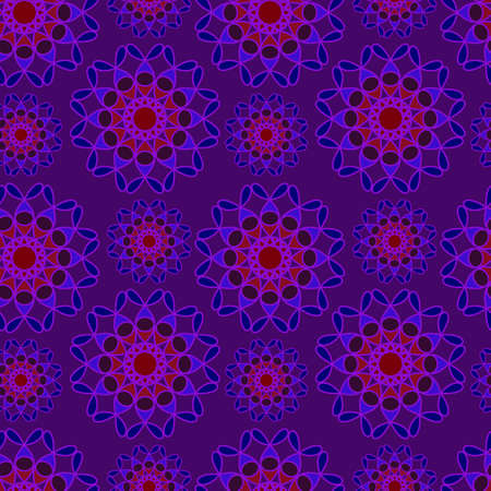 Seamless violet, blue and red vector pattern. Repeating floral background. Dark abstract pattern for web design 向量圖像