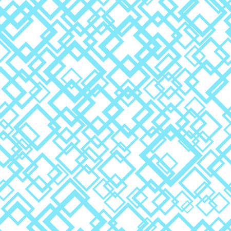 Seamless geometric pattern in blue and white colors. Abstract repeating background with overlapping light blue squares. Vector