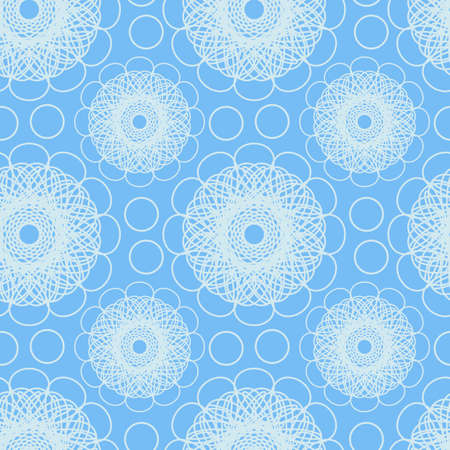 Light blue seamless pattern with abstract flowers and circles. Vector floral background