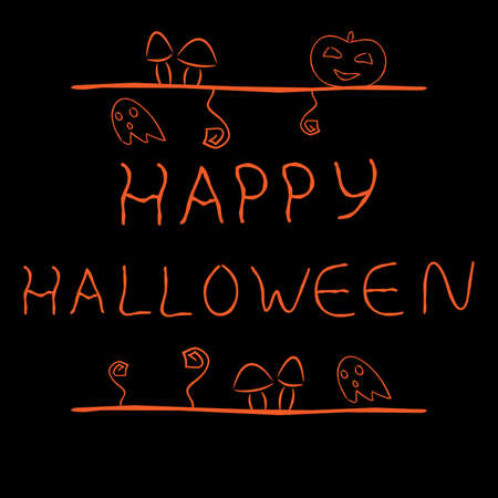 Hand drawn label with words Happy Halloween and cartoon illustrations