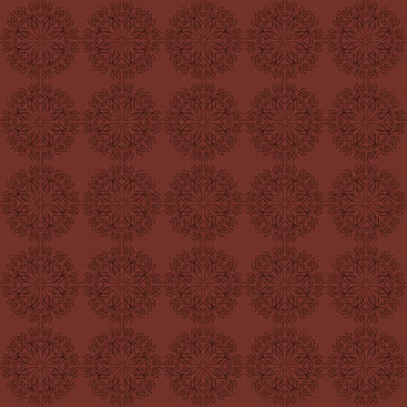 Dark red floral ornament. Intricate seamless background with ornamental pattern Vector