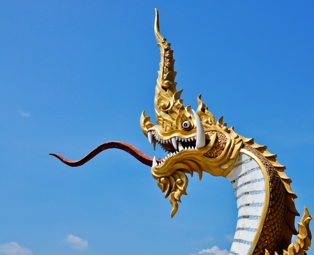 Statue of Naga in Temple of Thailand photo