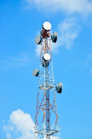 Antenne televisie-uitzending en telefoon Stockfoto