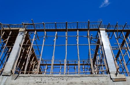 scaffolds: Metal rail and wooden toe board scaffolds
