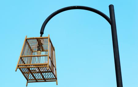street light lamp post or lantern on a blue sky background photo