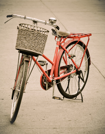 Old bicycle and basket photo