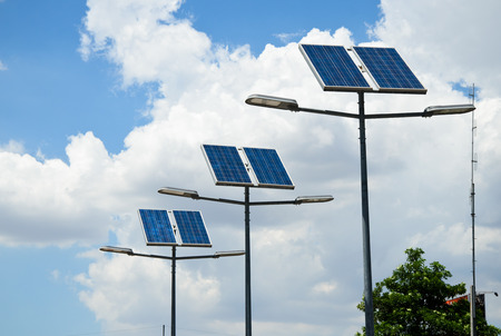 streetlights: solar powered street light Stock Photo