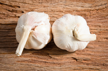 Organic garlic whole  on the wooden background Stock Photo - 22908083