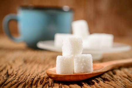sugar cube and blue coffee cup photo