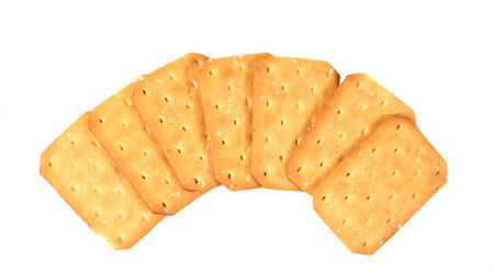 crackers on white background photo