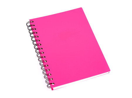 incline: Incline pink note book on white background