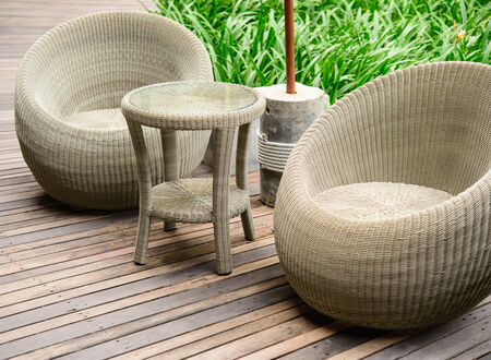 Table and Chairs in garden photo