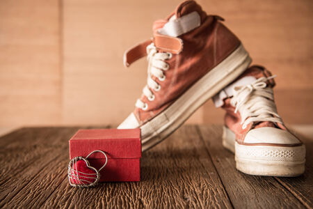 swain: Red shoes with Lovely Heart Stock Photo