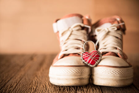 swain: Red shoes with Lovely Heart.Love time concept