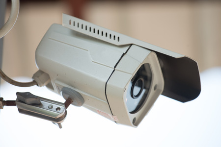 detect: Close Circuit Television hang roof, this camera record detect and protect people activity Stock Photo
