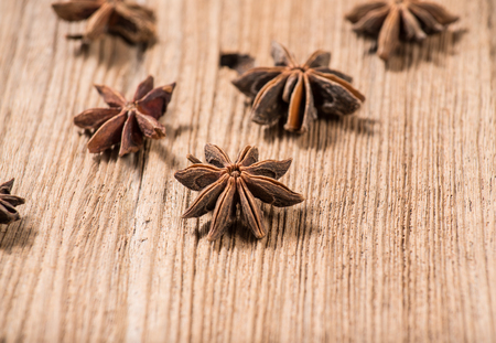 Herbs and Spices over wooden background photo