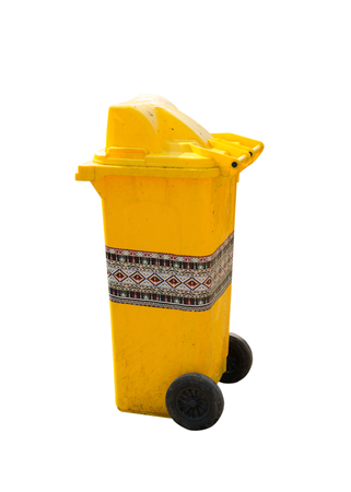 litterbin: yellow recycling bin in thai style isolate on white