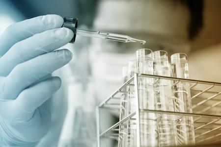 science equipment: Test tubes closeup,medical glassware Stock Photo