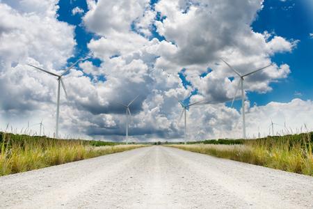 wind force wheel: Wind turbines landscape Stock Photo