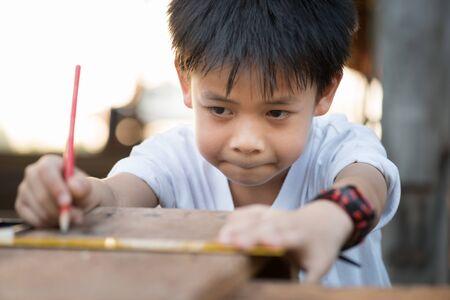 inspector kid: portrait kids carpenter concept
