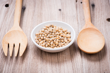 Soybeans in white ceramic bowl photo