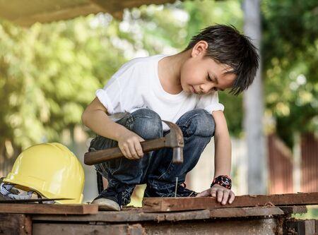 carpintero: retrato niños concepto carpintero Foto de archivo