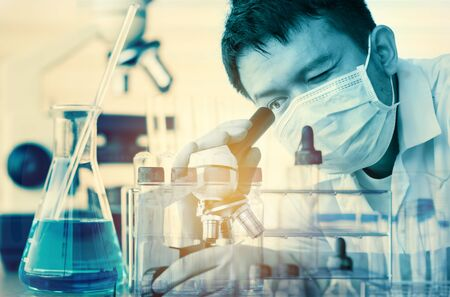 medical laboratory: scientist working at the laboratory Double exposure style,Laboratory research concept