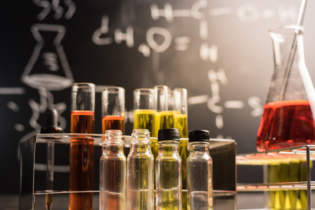 research science: Laboratory glassware containing chemical liquid, science research