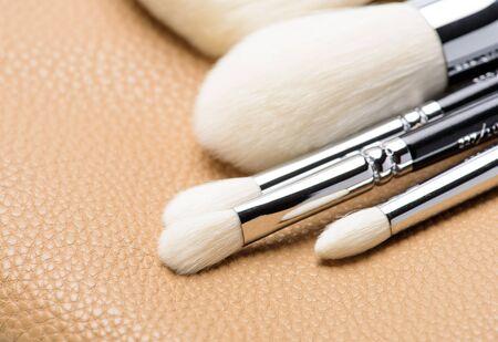 make up brush: set of make up brush  on brown leather background
