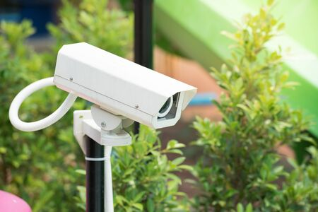 electronic survey: CCTV cameras in the park Stock Photo