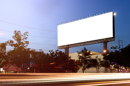 Blank billboard for advertisement with lighting line at twilight