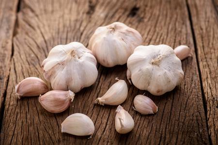 garlic on wood background
