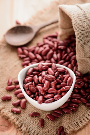Red Kidney beans or red beans in white ceramic bowl