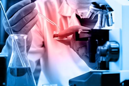 Fiole conique dans le scientifique main avec verrerie de laboratoire fond, concept de laboratoire de recherche Banque d'images - 45135760